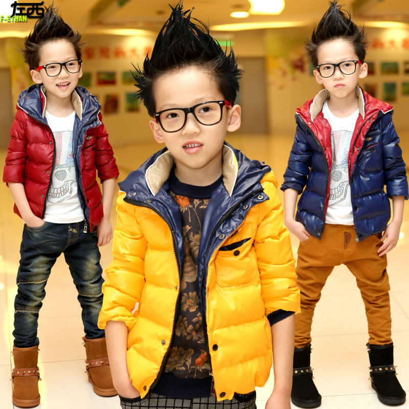 ФОТО Free shipping winter new fashion Boy with thick cotton-padded jacket cotton-padded jacket and cap cotton-padded clothes coat