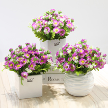 Artificial Flower Bonsai Daisy sunflower set potted plant Ceramic flowerpot simulation flowers wedding decoration accessories