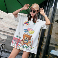 Thailand Tide brand 2018 Summer Balloons Bear ulzzang Hole Korean Loose Short sleeved T shirt
