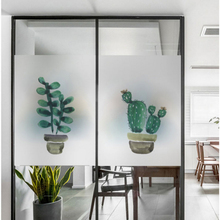 Nordic ins Cactus plant frosted glass stickers Bathrooms balcony door windows electrostatic transparent film opaque