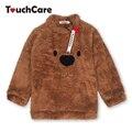 Recém-nascidos de Inverno Quente de Lã Grossa para Blusas Bebê Infantil Bonito Dos Desenhos Animados do Animal do Urso Crianças Pullover Manga Longa T-shirts Blusa Criança