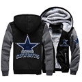 USA size Men Women Football Cowboys Zipper Jacket Sweatshirts Thicken Hoodie Coat Clothing Casual