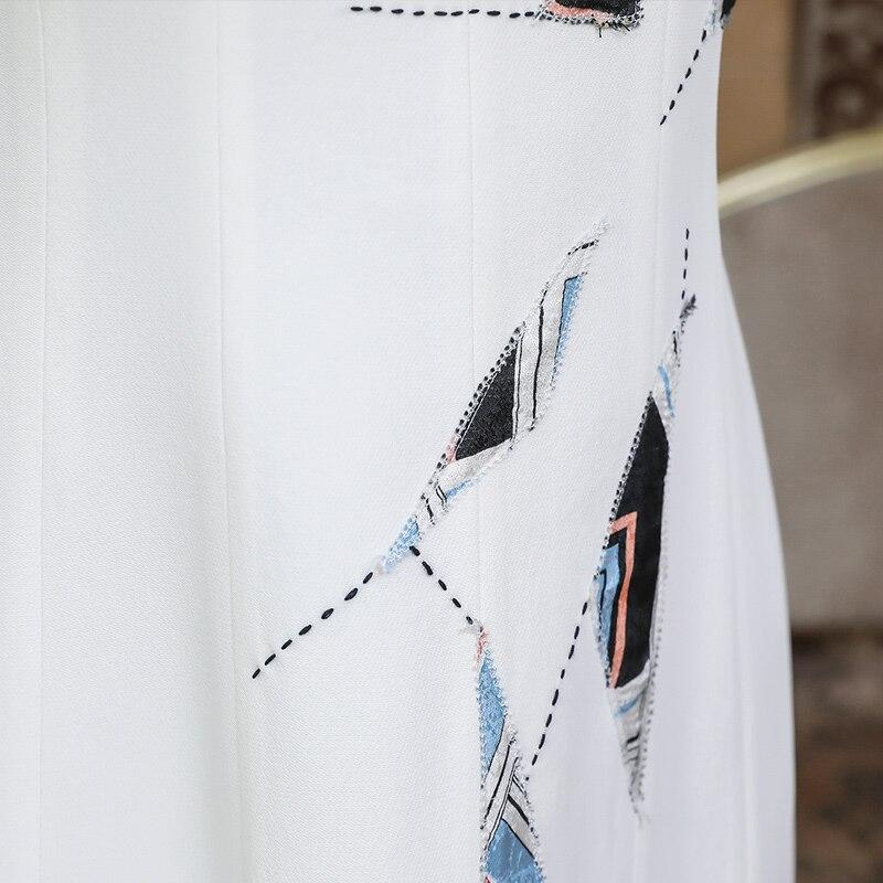 Midi Robe Bureau Robes Luxe Blanc Taille A935 Élégant Vêtements Femmes Travail Dames Lourde Pour Base Soie D'été Mignon De Voa Moulantes Grande vdqtd