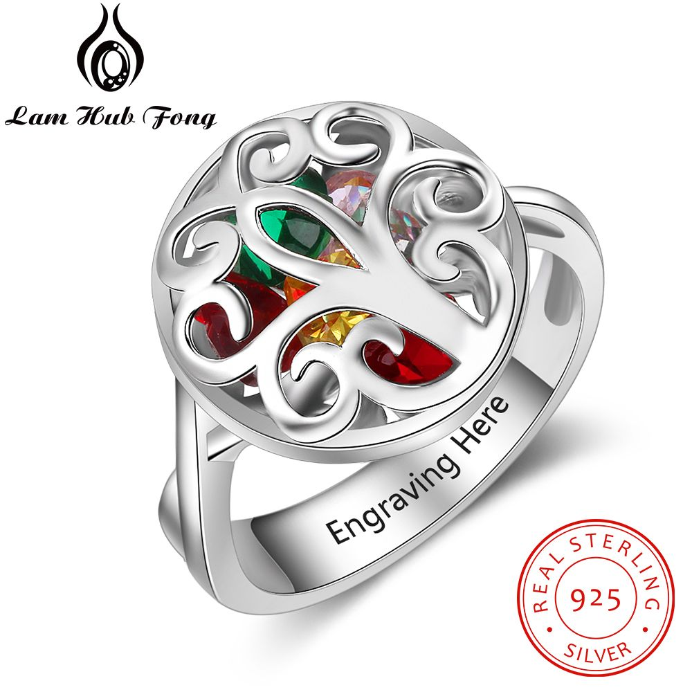 Personalized Birthstone 925 Sterling Silver Engraved Name Rings Hollow Out Flower Cage Ring Fine Gift for