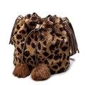 De alta Calidad de Imitación de Piel de Conejo Bolsa de Mujeres PU Bolsos de Cuero Del Diseñador de Moda de Señora Messenger Bag Mujeres Bucket Bag Bolsas