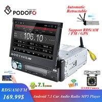 Podofo 2 din Android автомобильный Радио gps навигации автоматическая выдвижная экран wi fi Bluetooth стерео AM/FM/RDS S Зеркало Ссылка