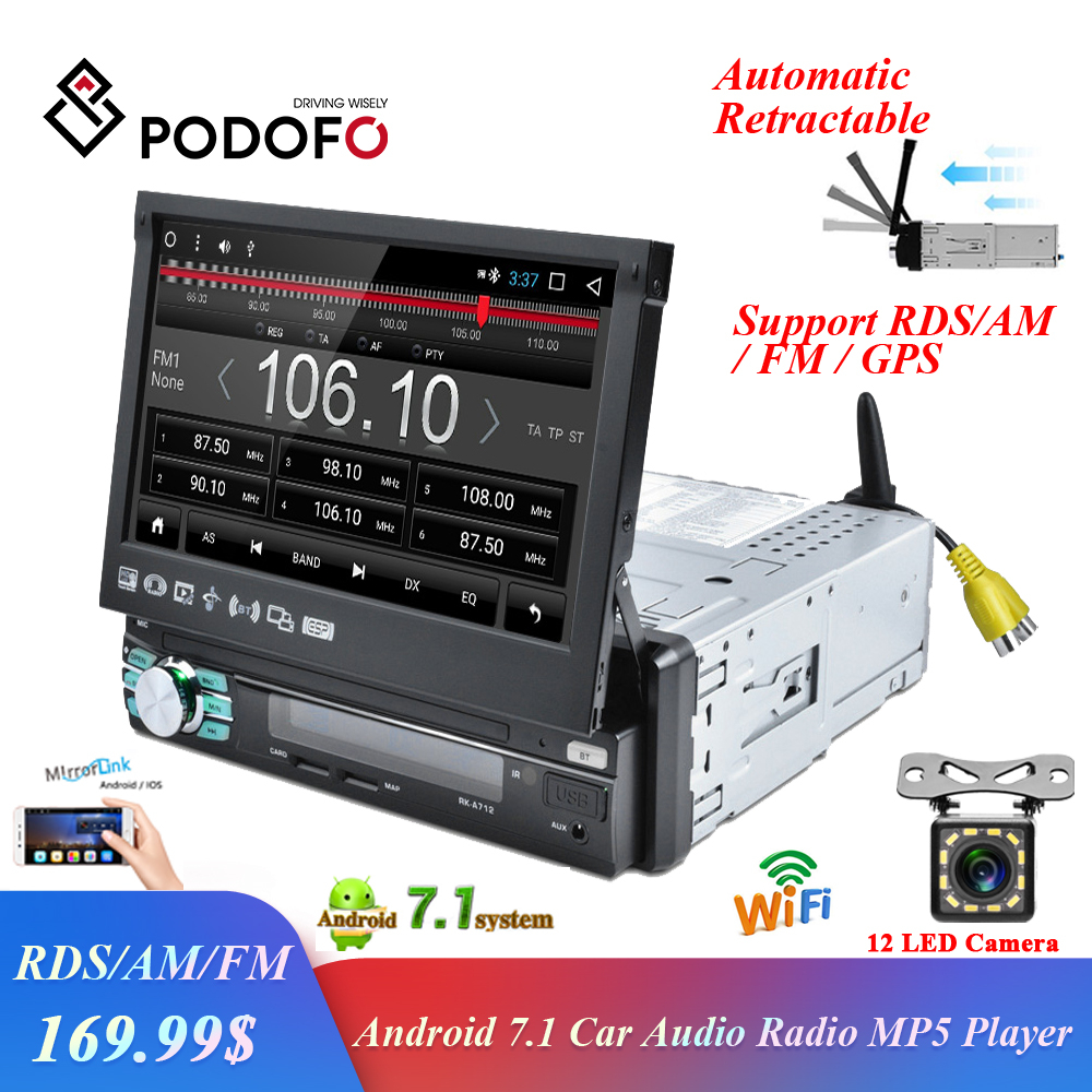 Podofo 1 din Android Car Radio GPS Navigation Automatic Retractable Screen WIFI Bluetooth Stereo AM/FM/RDS Radios Mirror Link image