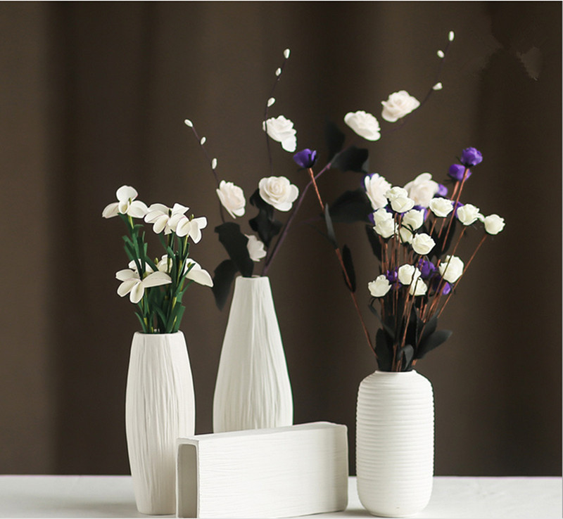 Fashion White Ceramic Flower Vase for Homes,Decorative Vases,Home Decoration Modern or Wedding Decoration Vaso,Hot