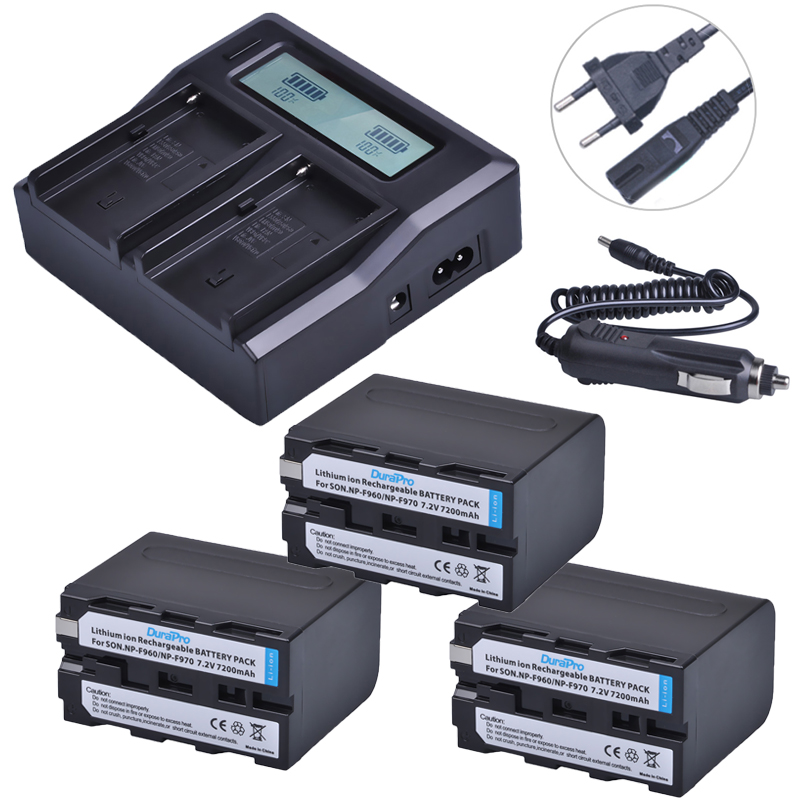3pc NP-F960 NP-F970 NP F960 F970 7200mAh Rechargeable Battery + LCD Dual Quick Charger for SONY HVR-HD1000 HVR-HD1000E HVR-V1J 2pc 7200mah np f960 np f970 np f960 np f970 rechargeable li ion battery lcd fast charger for sony hvr hd1000 hvr hd1000e hvr v1j