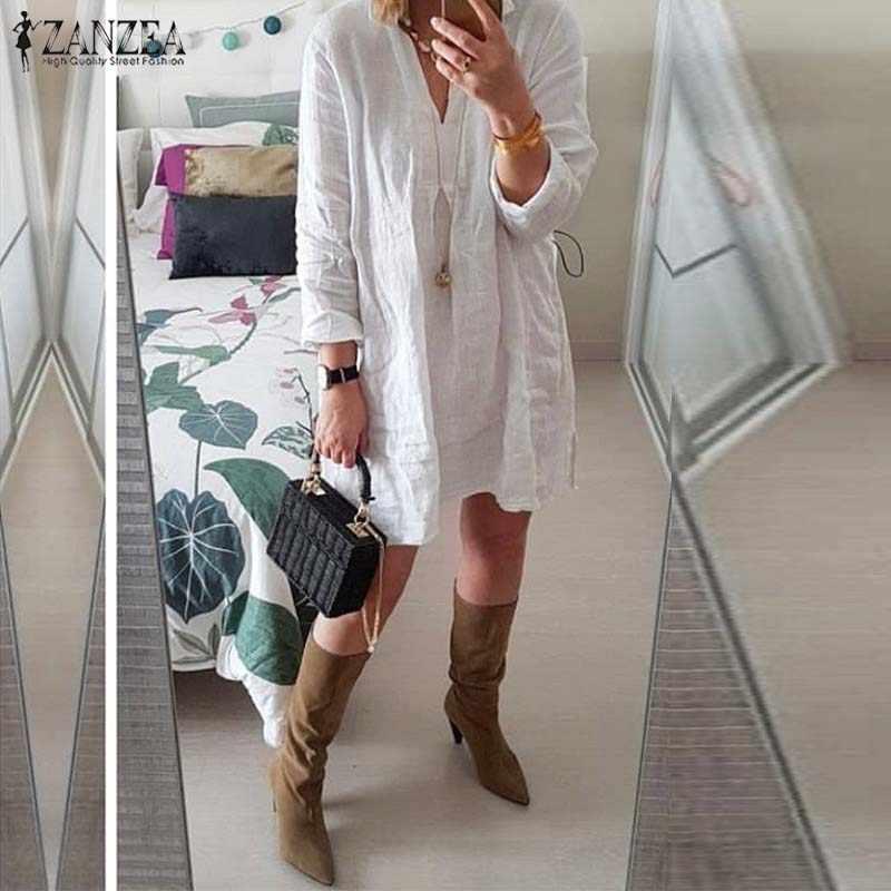 Женская летняя блузка ZANZEA 2019 винтажный плюс размер нерегулярные топы v-образный вырез рубашки с длинными рукавами женские Короткие Vestidos Длинные Blusas