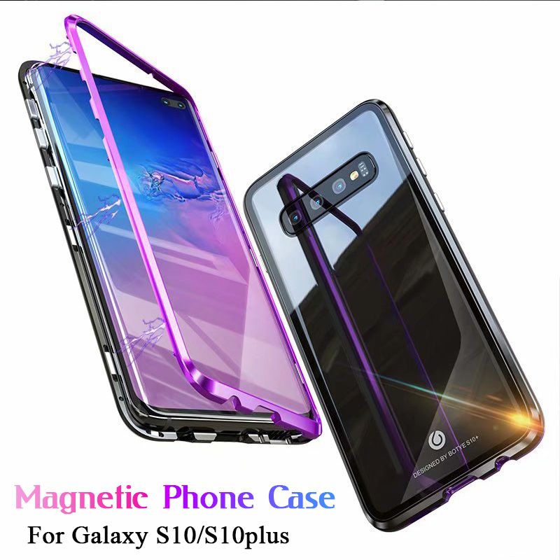 Strong Magnetic Adsorption Phone Case For Samsung Galaxy S10 Plus + S10 Luxury Metal Ultra Back Transparent Tempered Glass CoverStrong Magnetic Adsorption Phone Case For Samsung Galaxy S10 Plus + S10 Luxury Metal Ultra Back Transparent Tempered Glass Cover