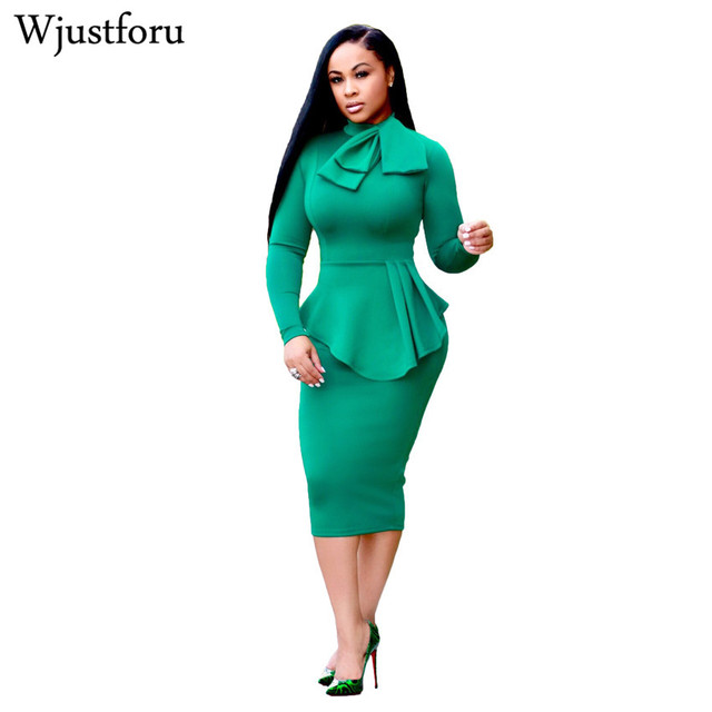 Wjustforu New Fashion Women Office Dress Work Wear Bow Tie Bodycon