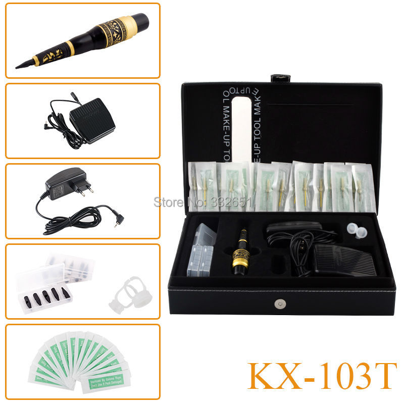 KX-103T Complete Rotary Makeup Tattoo Machine Kits Permanent Makeup Eyebrow Machines Cosmetic Rotary Pen Kit with EU or US Plug solong tattoo kit hybrid kit rotary machine eyebrow permanent makeup pen motor 20 needles cartridges rca connection line tattoo