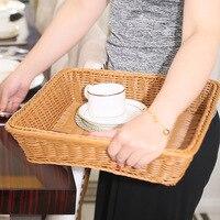 Rectangle Imitation Rattan Bread Basket Case Woven Fruit Food Vegetables Storage Basket Home Kitchen Organizer