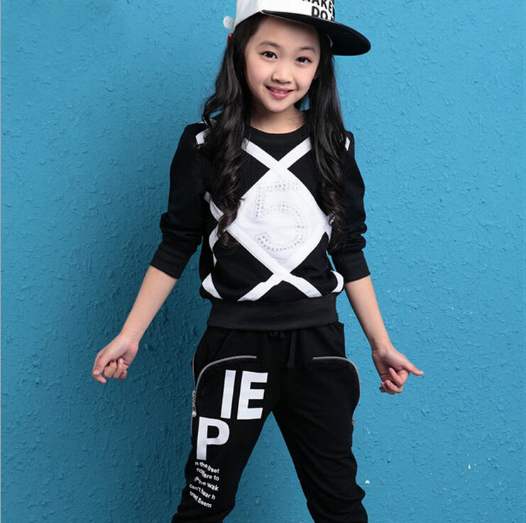 Girls autumn sets 2015 new children's clothing baby kids long sleeves harlan casual suit 3 4 6 9 12 year girls spring twinset