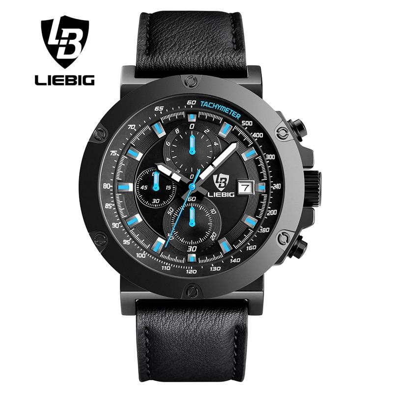 ФОТО LIEBIG Casual Mens Watches Top Brand Luxury Men's Quartz Watch Sport Waterproof  Wristwatches Men Leather Relogio Masculino 1018