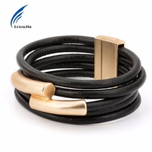 Multilayer Gold/Silver Color Magnet PU Leather Rope Chain Wrap Bracelet Pulseira Feminina Bracelets For Women Wristband