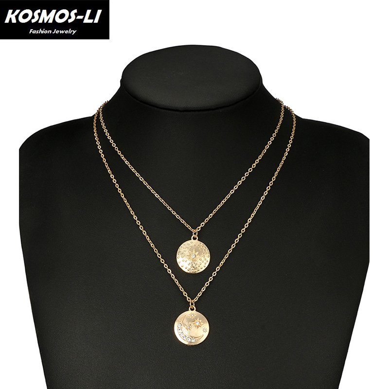 New Trendy Medal Sun Moon Gold Color Pendant Necklace For Women Girl Wedding Party Gifts Link Necklaces