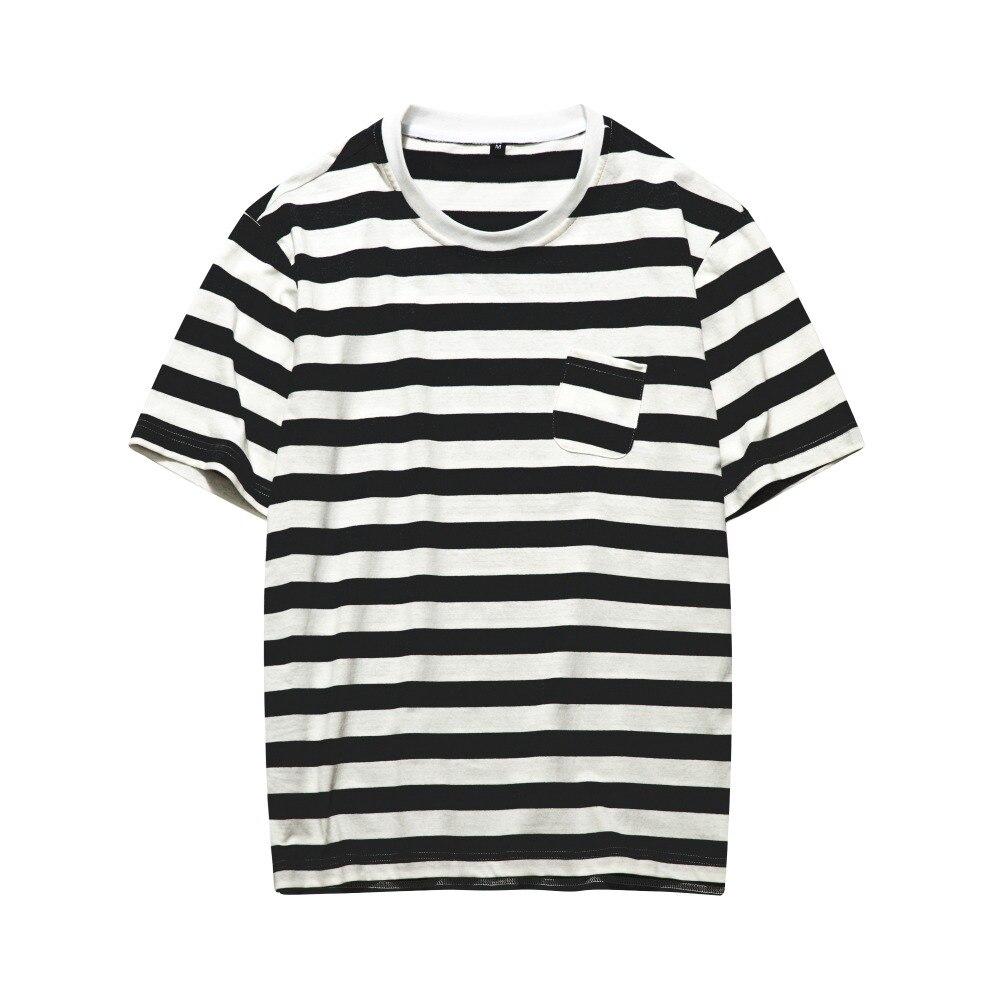Summer Casual Tshirt Men Black And white Stripes Men 2018 Fashion New Tee Striped Mens T-shirt Hip Hop Streetwear Tshirt Homme