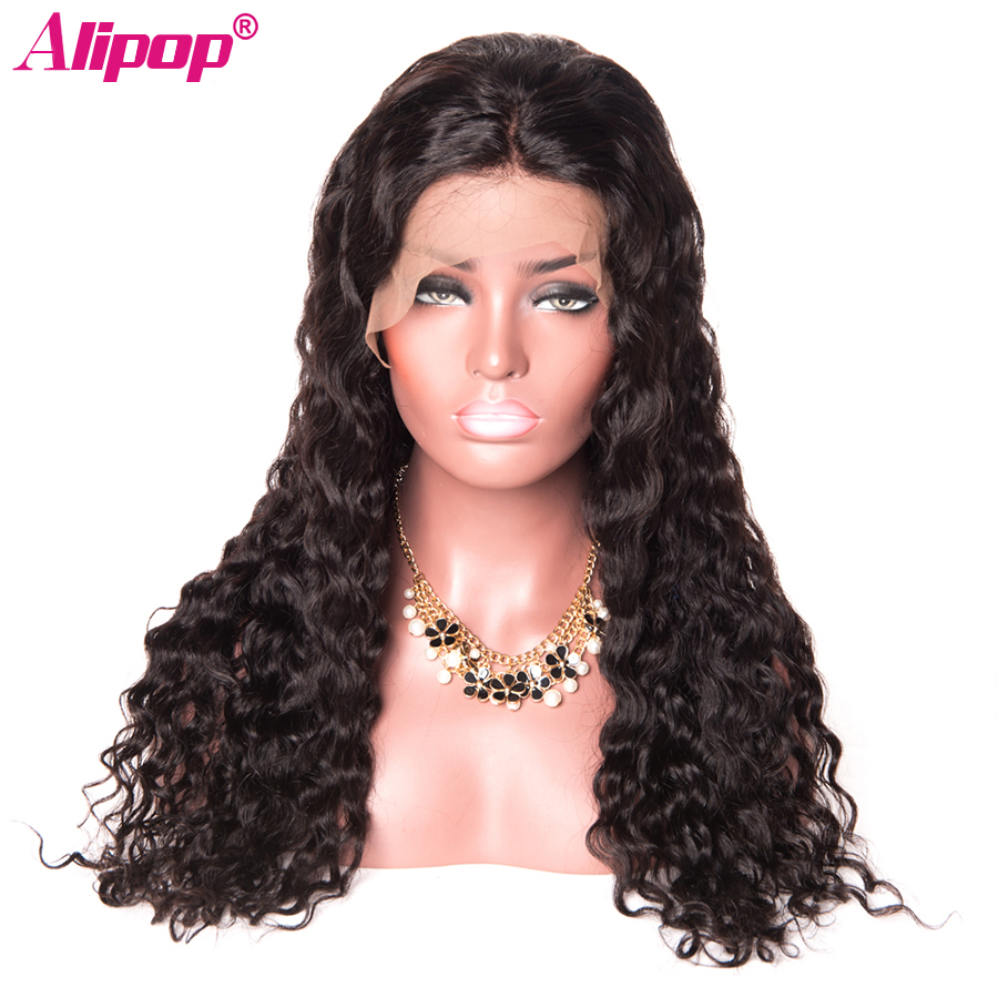 360 Lace Frontal Wig Pre Plucked With Baby Hair Peruvian Water Wave ALIPOP Lace Front Human Hair Wigs for Women Black Remy Wig