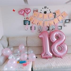 Image 2 - 2 adet 40 inç mutlu 18 doğum günü folyo balonlar gül altın/pembe/mavi sayı 18th yaşında parti süslemeleri erkek çocuk kız malzemeleri