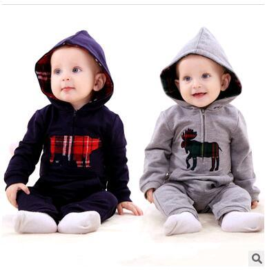 Brand Baby Rompers newborn Ropa De Bebe Long Sleeve Hooded Cotton Baby Costume baby boy clothes Autumn Romper Baby Clothes
