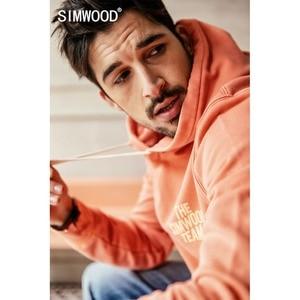 Image 2 - SIMWOOD 2020 printemps nouveau sweat à capuche hommes 100% coton lettre imprimer sweats à capuche mâle grande taille pulls décontractés 190139