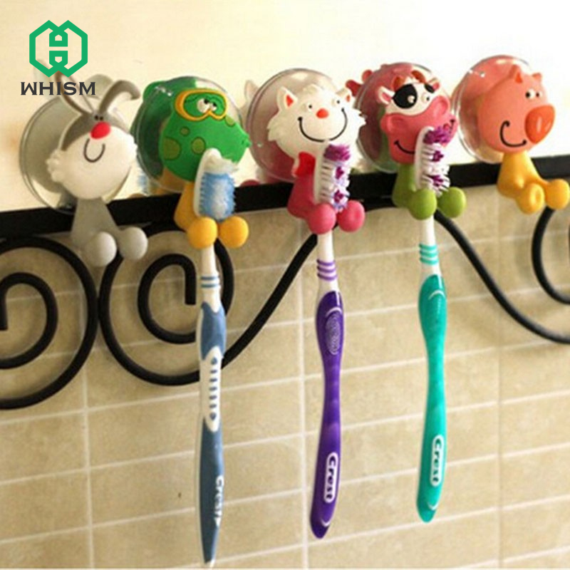 WHISM Wall Mount Suction Cup Wall Rack Hanger Bathroom Accessory Set Children Kid Gift Cartoon Animal Toddler Toothbrush Holder image