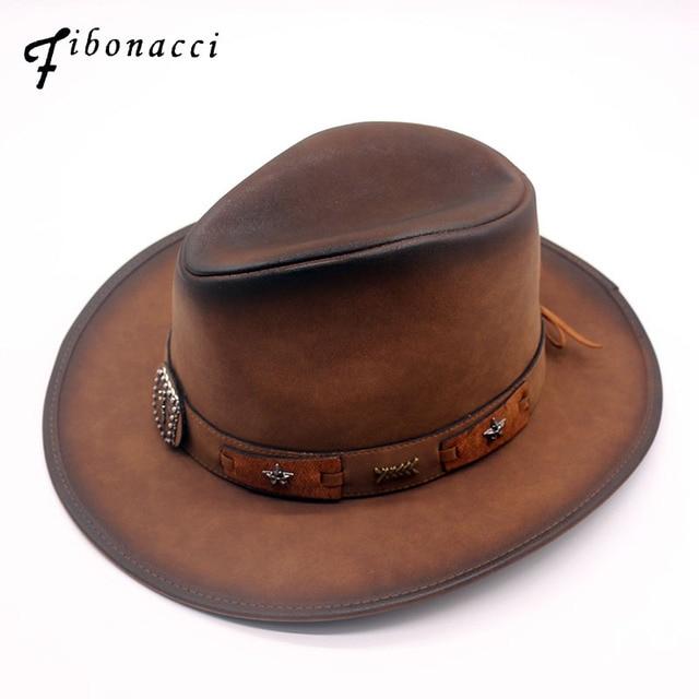 Fibonacci 2018 New Top Quality Fashion Faux Leather Cowboy Hat Metal  Decoration Wide Brim Western Men Cowgirl Jazz Cap f95a8705a56