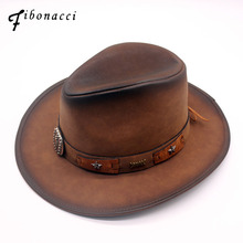 Fibonacci 2018 New Top Quality Fashion Faux Leather Cowboy Hat Metal Decoration Wide Brim Western Men Cowgirl Jazz Cap