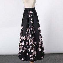 2017 New Satin Women 100cm High Waist Flared Maxi Skirts Peach Blossom Printed Pleated Floor Length Long Skirts Saias SP041