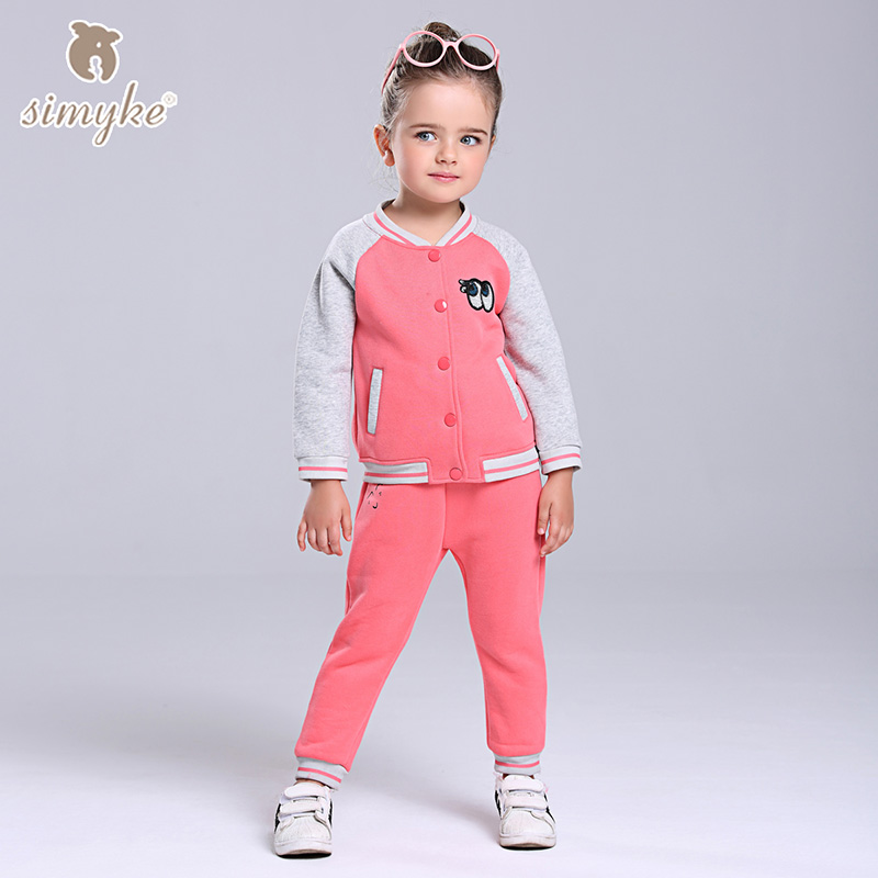Simyke Girls Thick Sport Sets 2017New 2pcs Velvet Set for Girl Jacket+Trousers Toddler Set Kids Clothes Childrens Clothing W0090 kinderline cars crbb rt2 836m