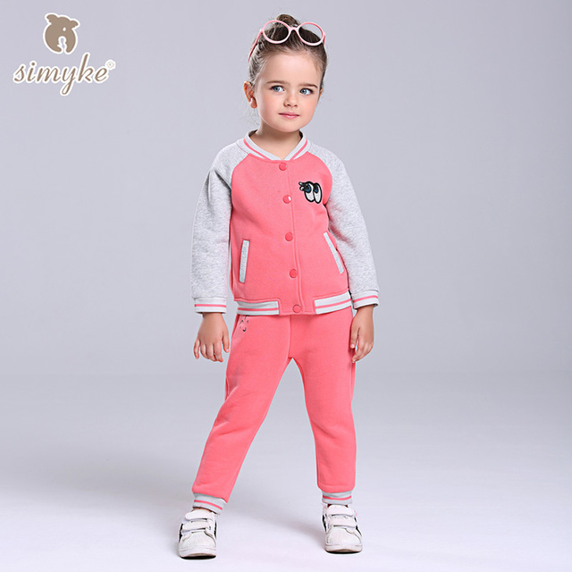 Simyke Girls Thick Sport Sets 2017New 2pcs Velvet Set for Girl Jacket+Trousers Toddler Set Kids Clothes Childrens Clothing W0090