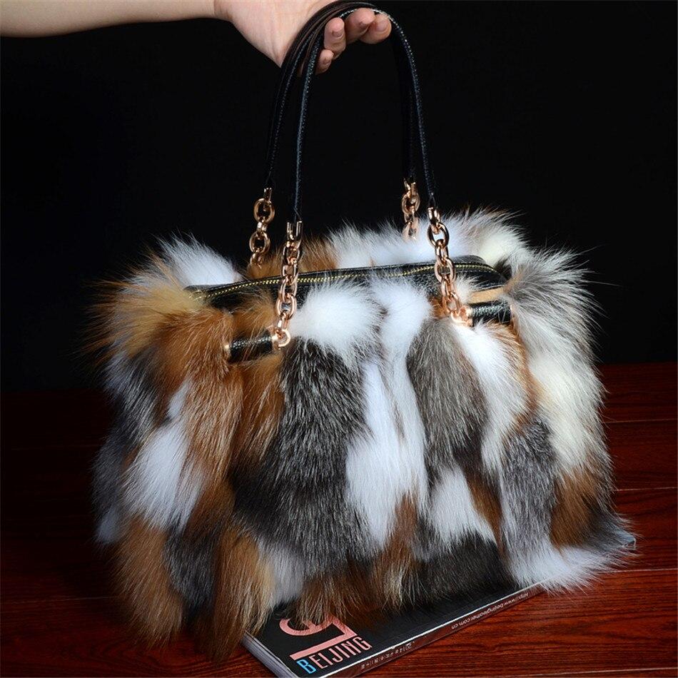 Real Red fox fur handbags handbag bag silver fox fur bag pathwork real fur handbag