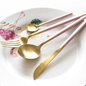 Image 4 - Conjunto de talheres dourados pretos, barato 4pcs conjunto de talheres em aço inoxidável, faca, garfo, conjunto de talheres, utensílios de mesa, conjunto de comida ocidental