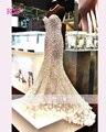Bling Bling nuevo vestido de noche largo piso longitud de la sirena que rebordea lentejuelas Sleeveless Sweetheart  Prom Dress