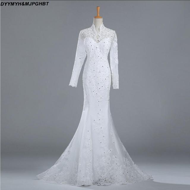 High Collar Long Sleeve Wedding Dresses