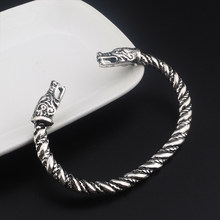 Gothic Viking Nordic Dragon Bangle Bracelet High Quality Fashion Silver Men's and Women's Best Gift Bracelet(China)