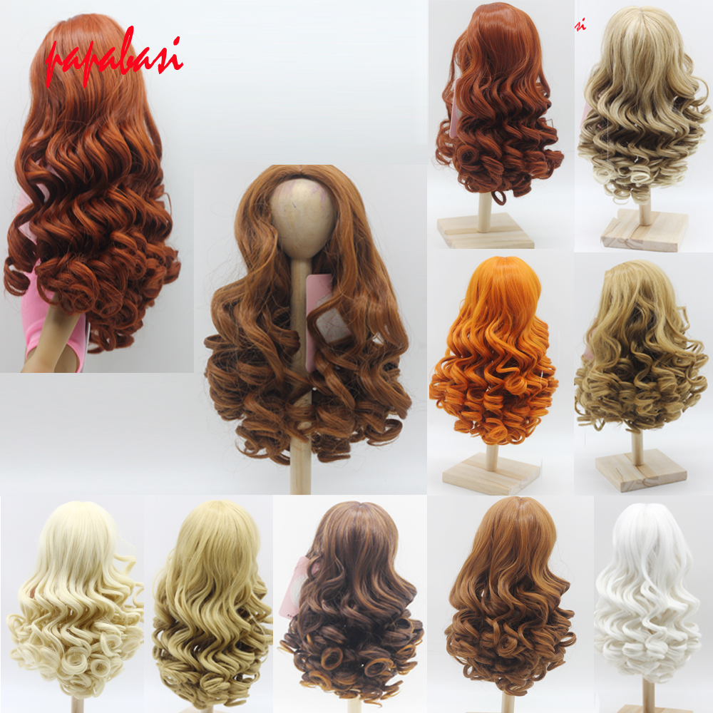 Natural Color Soft Big Wavy Hair Wigs Dark Brown khaki White Long Curly For 18inch American girls Doll Wig hair стоимость