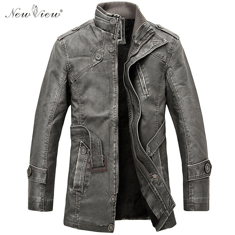 2017 Leather Jacket Winter Men Faux PU Leather Coat Warm ...