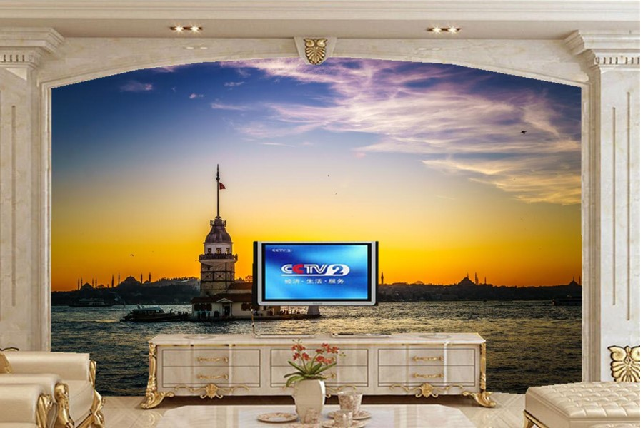 Custom papel de parede,Sea Sunrises and sunsets Sky wallpaper,restaurant living room sofa TV wall bedroom wall papers home decor blue sky white clouds photo wallpaper custom ceiling mural hotel dining room living room frescoes home decor papel de parede 3d