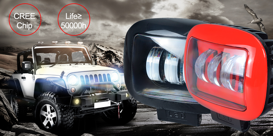 AcooSun Auto truck Offroad driving Lamp DC12V 24V Cree Chip Car Led Working Light 6000k 30W Flood Lamps Waterproof Led Fog Lights (1)