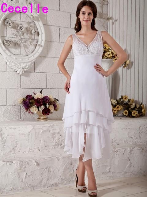 cfcbde40fde0 Vintage Tea Length White Hi Lo Wedding Dresses Straps Sleeveless V Neck Chiffon  Beach Second Wedding Dresses Simple Custom Made