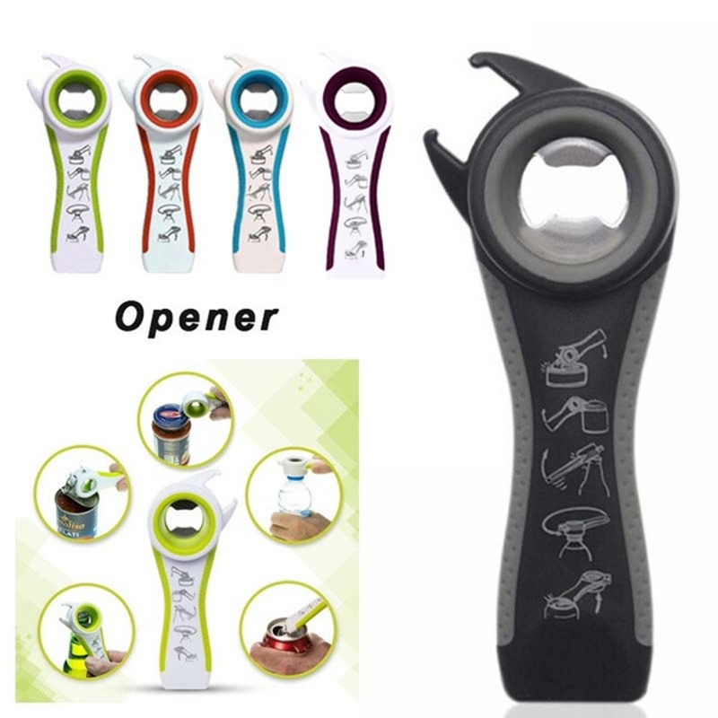 Home Kitchen Can Bottle Opener Multifunction 5 In 1 Bottles Jars Cans Manual Opener Tool Gadget