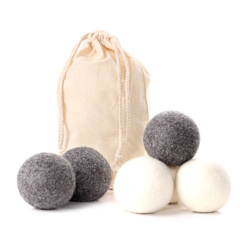 Hot Sale 6 Pack Wool Dryer Balls Natural Fabric Reusable Laundry Softener Alternative Felt Ball Cotton Bag