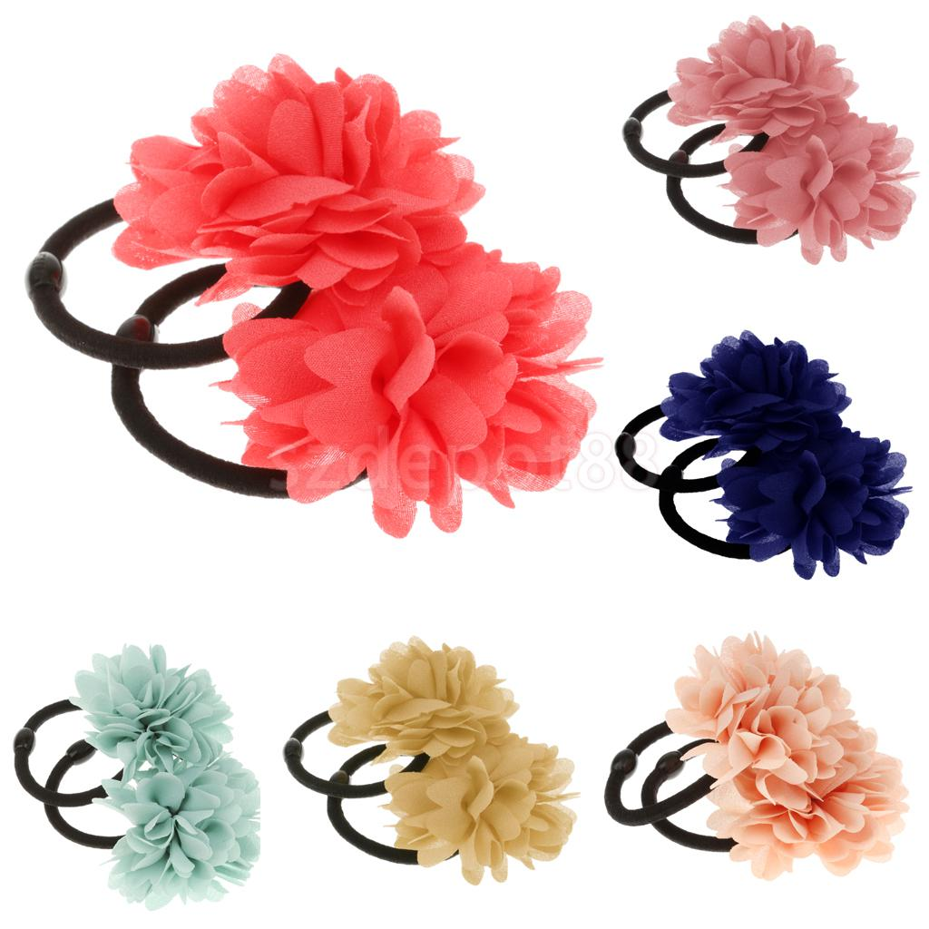 2Pcs Elastic Flower Hair Band Ponios Bobbles Girls Ponytail Hair Accessories