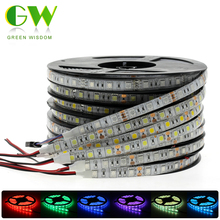 RGB LED Strip Light 5050 2835 DC12V Neon Ribbon Waterproof Flexible LED Diode Tape 60LEDs m 5M 12V LED Strip for Home Decoration cheap Green Wisdom living room Always On Epistar led light strip 12v SMD5050 ROHS 12V LED Strip 2835 5050 60 pcs m