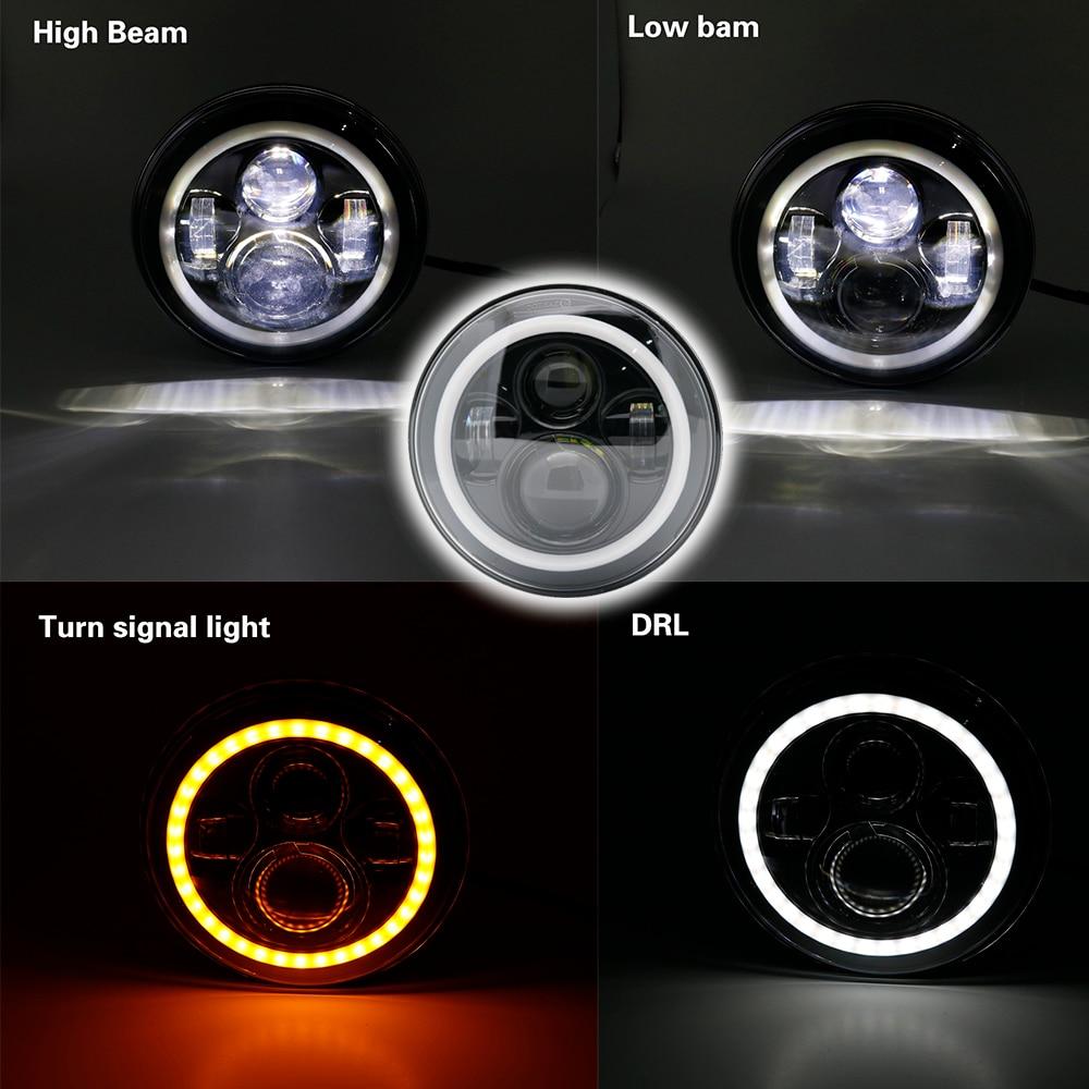 Newest 7 Inch LED Headlamp Halo Ring Amber Turn Signal For Lada Niva 4x4 Suzuki Samurai 7 LED DRL Halo Headlights For VAZ 2101 (9)