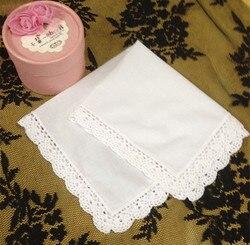 Mode vrouwen Zakdoeken 60 Stks/partij 11 X11 Wit Katoen Wedding Zakdoeken Geborduurd Vintage Kant Zakdoeken Voor Gelegenheden