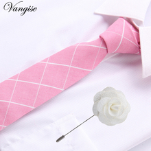 Newest fashion cotton Microfiber Skinny Mens Ties 6cm width Goom Neckties Slim Neck Tie &brooch set men accessories pink tie